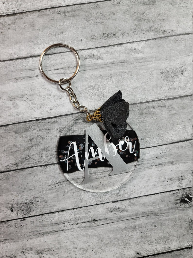 Personalized Gift Custom Keychain Silver and Black Personalized Keyring Bag Charm Custom Keyring Monogram Gift