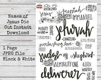 Names of Jesus stickers download- Journaling, bible journaling,scrapbooking, planning