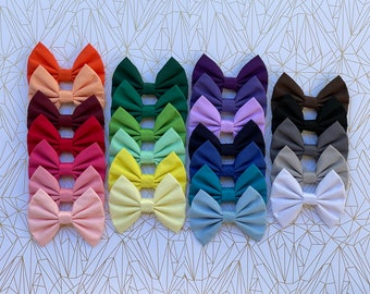 Solid Colours Fabric Hair Bow