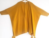 Knitted Yellow Cardigan, Vintage Yellow Poncho, Knitted Yellow Jacket, Knit Wool Poncho, Wool Cover Up, Warm Wool Winter, Overcoat.
