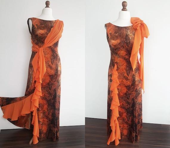 XL orange and brown long dress, Long party dress,