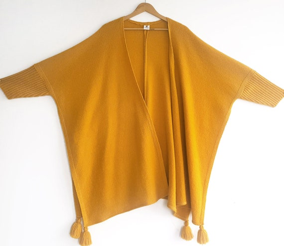 Knitted Yellow Cardigan, Vintage Yellow Poncho, Kn