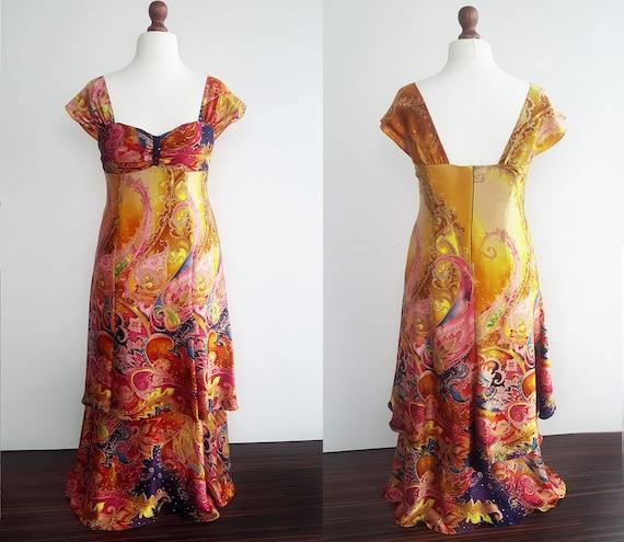 XL natural 100% silk long dress, Long party dress,