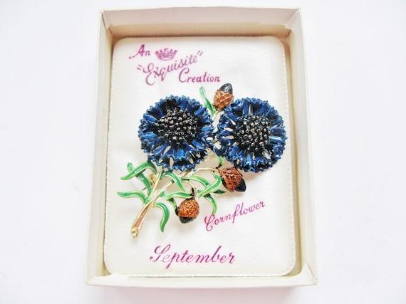 Exquisite Enameled Cornflower September Birthday B