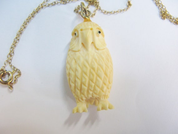 Vintage Carved Bone Owl Pendant On Gold Filled Chain Necklace
