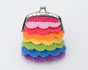 Crocheted Coin Purse, Clasp Pouch, Rainbow Kisses Pouch, Gift