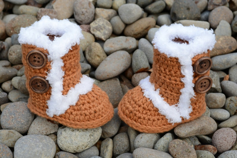 Crochet Brown Baby Boots Brown