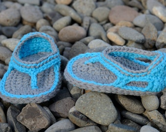 Ready to Ship!  3-6 Month Crochet Baby Boy Sandals, Trekker Sandals, Baby Boy Flip Flops, Boy Sandals, Gift