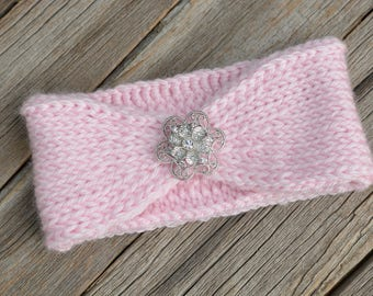 Pink Baby Ear Warmer, Tunisian Knit Ear Warmer, Photo Prop, Gift