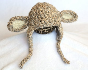 Crochet Little Lamb Baby Hat, Lamb Earflap Hat, Photo Prop, Gift