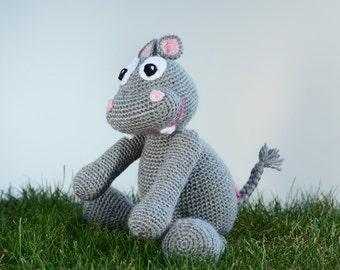 Crocheted Hippo, Amigurumi Toy, Stuffie, Gift