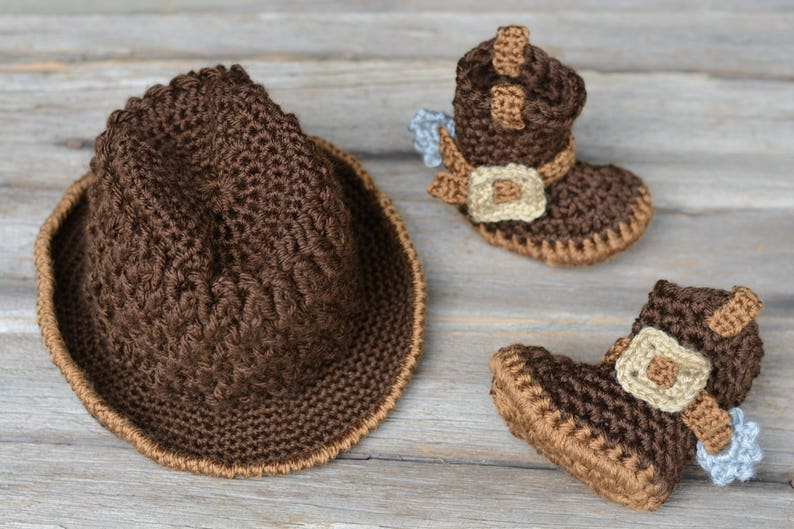 392e8a267c8 Crochet Cowboy Set Dark Brown Baby Cowboy Hat and Boots
