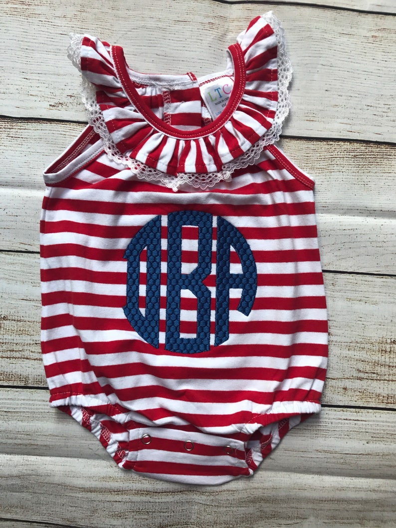 ac4aec4ae Monogrammed Baby Bubble Red and White Bubble 4th of July | Etsy