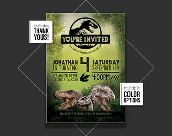 Jurassic World Birthday Invitation, Jurassic World Party, Jurassic World Birthday, Jurassic Park Invitation, Jurassic Park Party, 253098673
