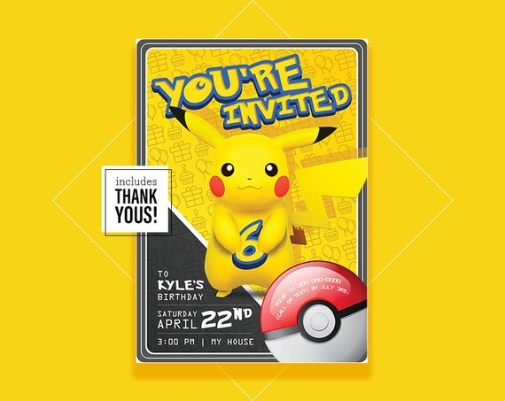 Pokemon Birthday Invitation Pikachu