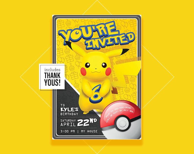 Pokemon Birthday Invitation Pikachu Printable Custom Go Party Invite 512020020