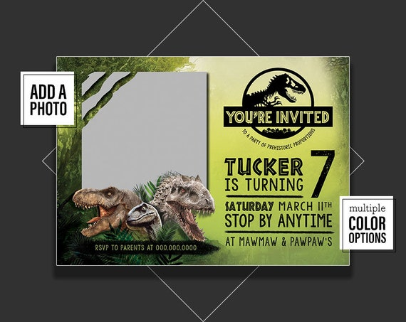 Jurassic World Invitation With Photo