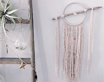 The Quinn Crystal and driftwood wall hanging // grey bohemian wall hanging // boho dreamcatcher // large // fringe