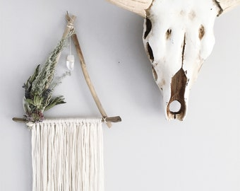 Triangle Crystal Wreath, Botanical Wall Decor, Wallhanging, Herbal Healing, Quartz Crystal,