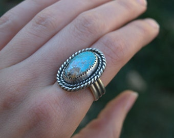 Turquoise Silver Twist Ring with Moon Stamp | Sale | Handmade Southwestern Sterling Jewelry