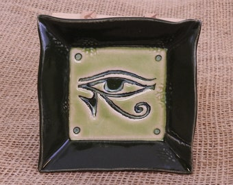 Eye of Horus Offering Tray, Square Egyptian Ritual Offering Plate, Chrome Green and Key Lime