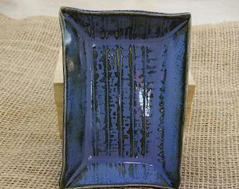 Egyptian Hieroglyph Offering Plate, Egypt Candle Plate, Altar Dish, Trinket Dish, Food Safe, Mottled Blue