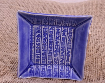 Egyptian Hieroglyph Offering Plate, Egypt Candle Plate, Altar Dish, Trinket Dish, Food Safe, Sapphire