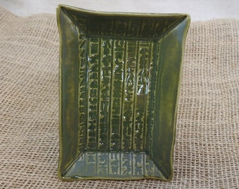 Egyptian Hieroglyph Offering Plate, Egypt Candle Plate, Altar Dish, Trinket Dish, Food Safe, Emerald Green