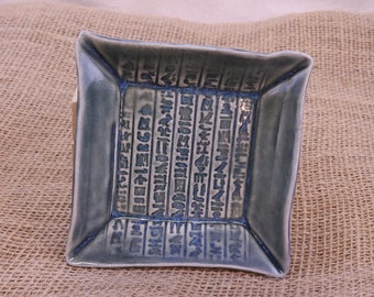 Egyptian Hieroglyph Offering Plate, Egypt Candle Plate, Altar Dish, Trinket Dish, Food Safe, Stormy Sea