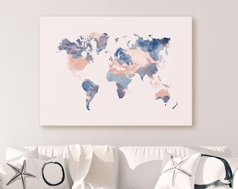 World Map Poster Etsy - Pink world map poster