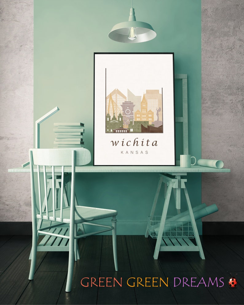 Wichita Downloadable Prints Bedroom Ks Travel Theme Home Etsy
