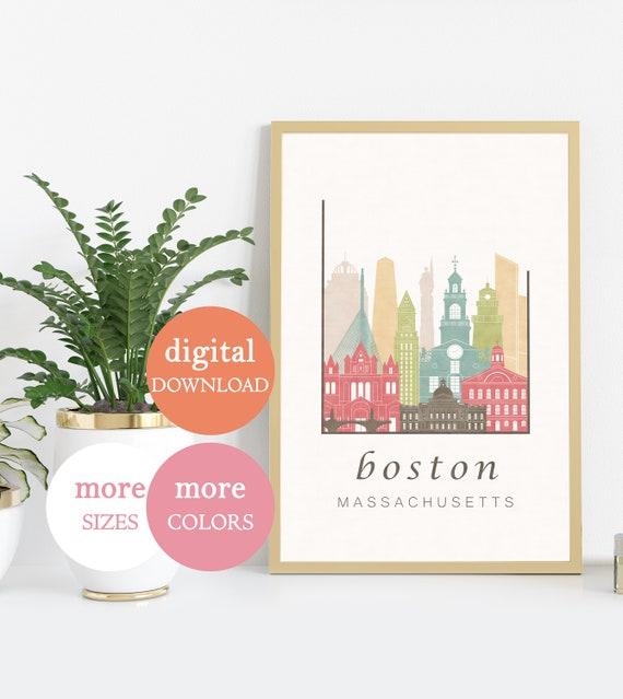 Minimalist Home Decor Wall Art Boston Massachusetts Print Digital Download Downloadable Typography Designer Contemporary Boho Printable
