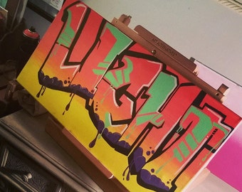 "12"" x 24"" Custom Graffiti on Stretched Canvas"