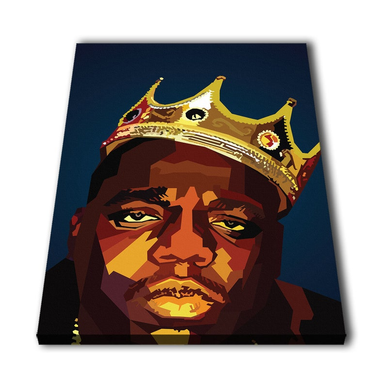44410c1952 Biggie Smalls The Notorious B.I.G. Blue Rapper Canvas Giclee Print Painting  Picture Wall Art Split Canvases Home Decorations
