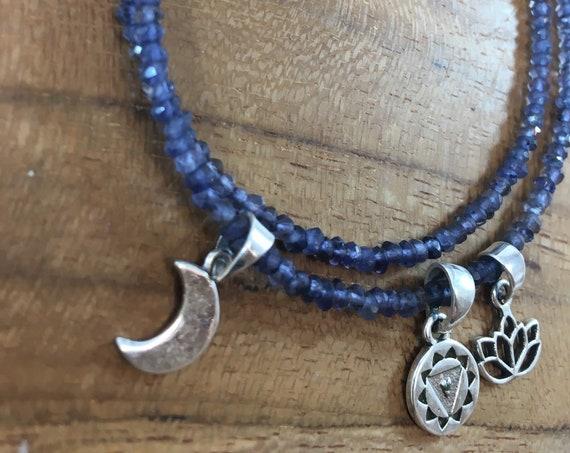 Iolite silver charm necklace