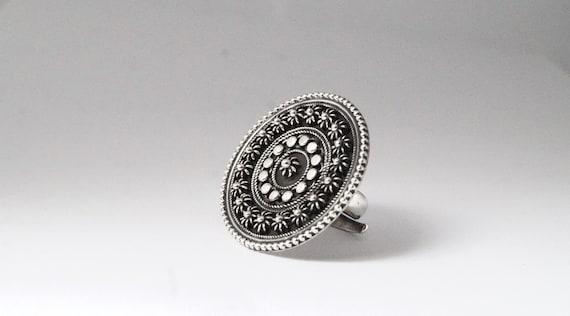Flower Pattern 925 Silver Tribal Boho Ring Adjustable