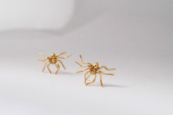 Spider Stud Earrings 18K Gold Plated 925 Silver