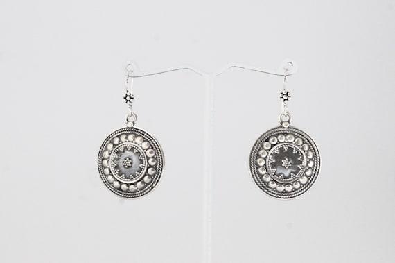 Tribal Coin Silver Earrings