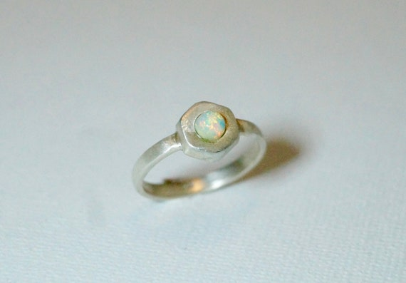 Silver Opal Hexagon ring
