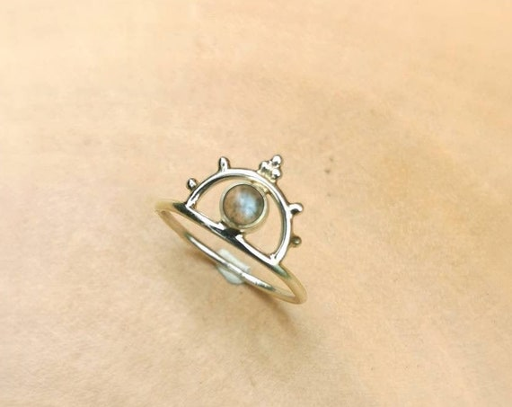 Half Moon Crown Ring 925 Silver with Labradorite, Boho Silver Ring with Stone