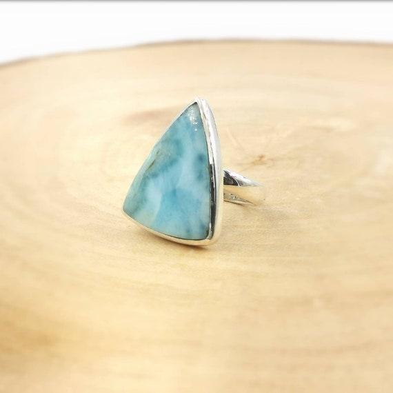 Triangular Larimar Ring in 925 Silver Adjustable