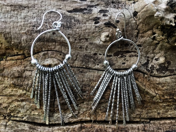 "Boho Earrings ""Tribal Latin"" Brass/ Silver Plated"