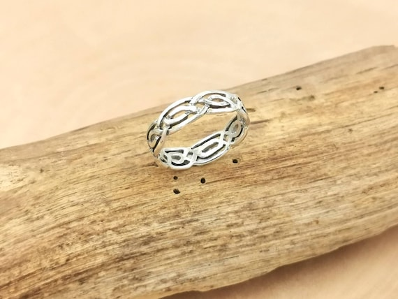 Celtic Pattern 925 Silver Band Ring