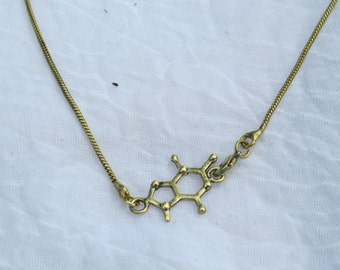 Theobromine Necklace Small, MOLECULAR STRUCTURE , 925 Silver/Brass,