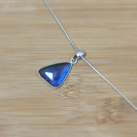 Blue Labradorite Triangular 925 Silver Pendant with Chain
