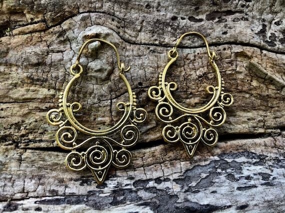 "Boho Earrings ""Spiral Hoop"" Brass"