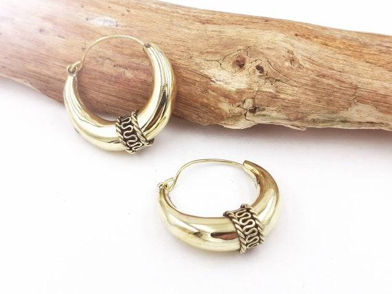 Tribal Boho Crescent Brass Earrings, Vintage Half Moon Brass Earrings Available in Three Sizes