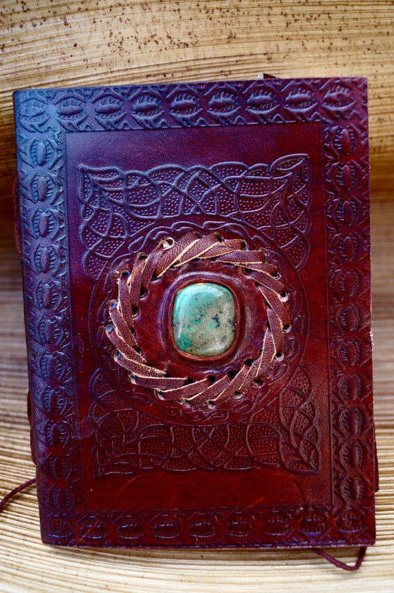 "Handmade Camel Leather Notebook with Stone ( Chrysocolla,), ""Arabian Labyrinth"", 4,5x6 Inches"