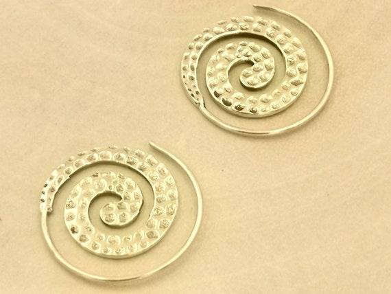 Small Hammered Boho Spiral Earrings Brass