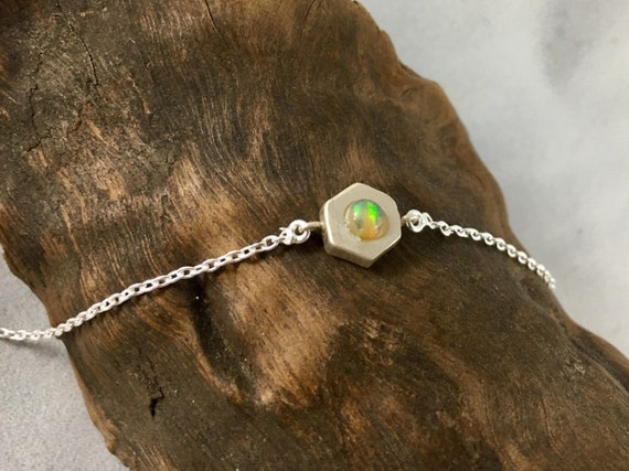 Hexagon Geometric Bracelet with Opal
